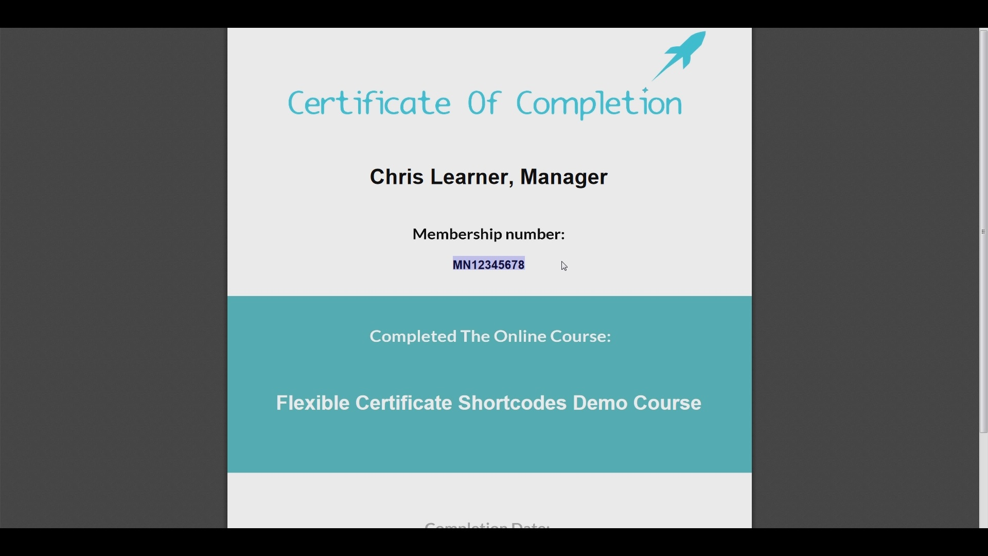 Certificate Shortcodes for LearnDash